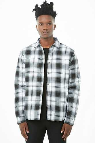 Plaid Button-Front Jacket at Forever 21  White/black GOOFASH 2000295727035