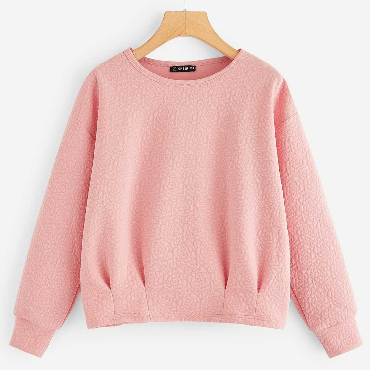 Pleated Textured Solid Pullover - Shein - GOOFASH