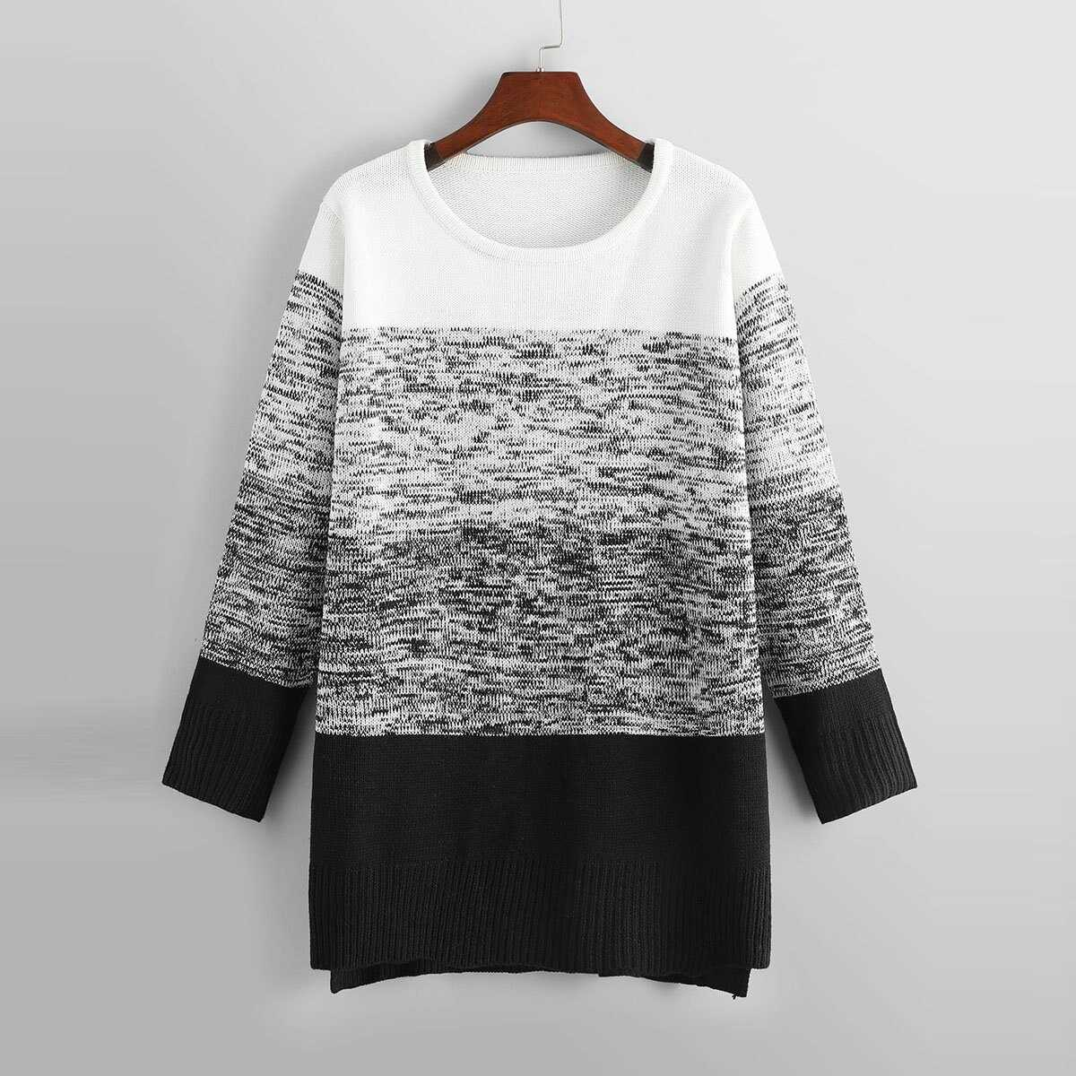 a25047696f93 Plus Color-Block Longline Sweater Shein | GOOFASH SHOP