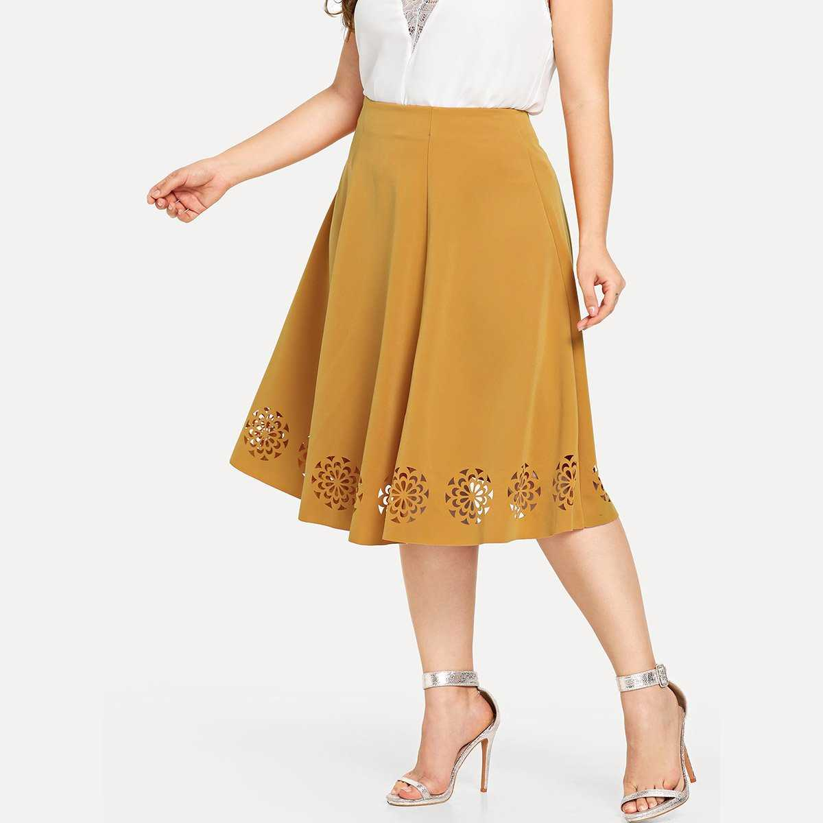 Plus Cut Out Pleated Solid Skirt - Shein - GOOFASH