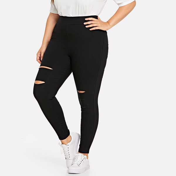 Plus Cut Out Pocket Pants - Shein - GOOFASH