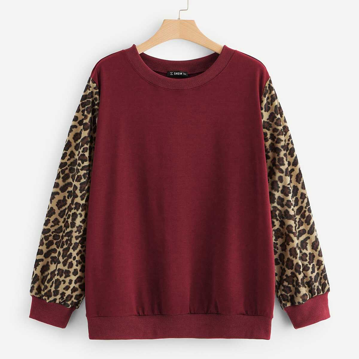 1751268cc462 Plus Drop Shoulder Leopard Sleeve Pullover Shein | GOOFASH SHOP