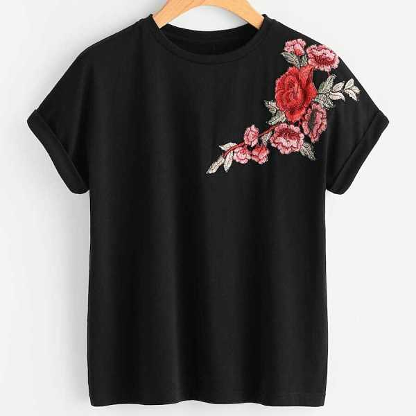 Plus Floral Embroidered Tee - Shein - GOOFASH