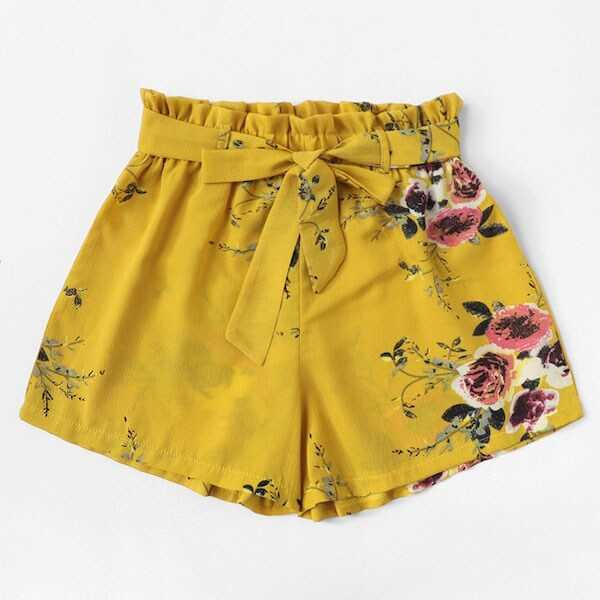 Plus Floral Print Belted Shorts - Shein - GOOFASH