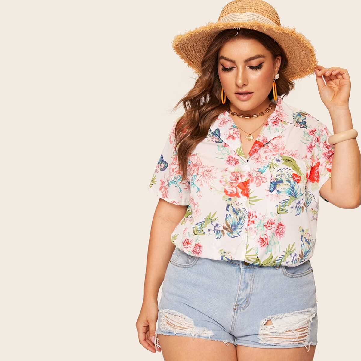 Plus Floral Print Notched Blouse - Shein - GOOFASH