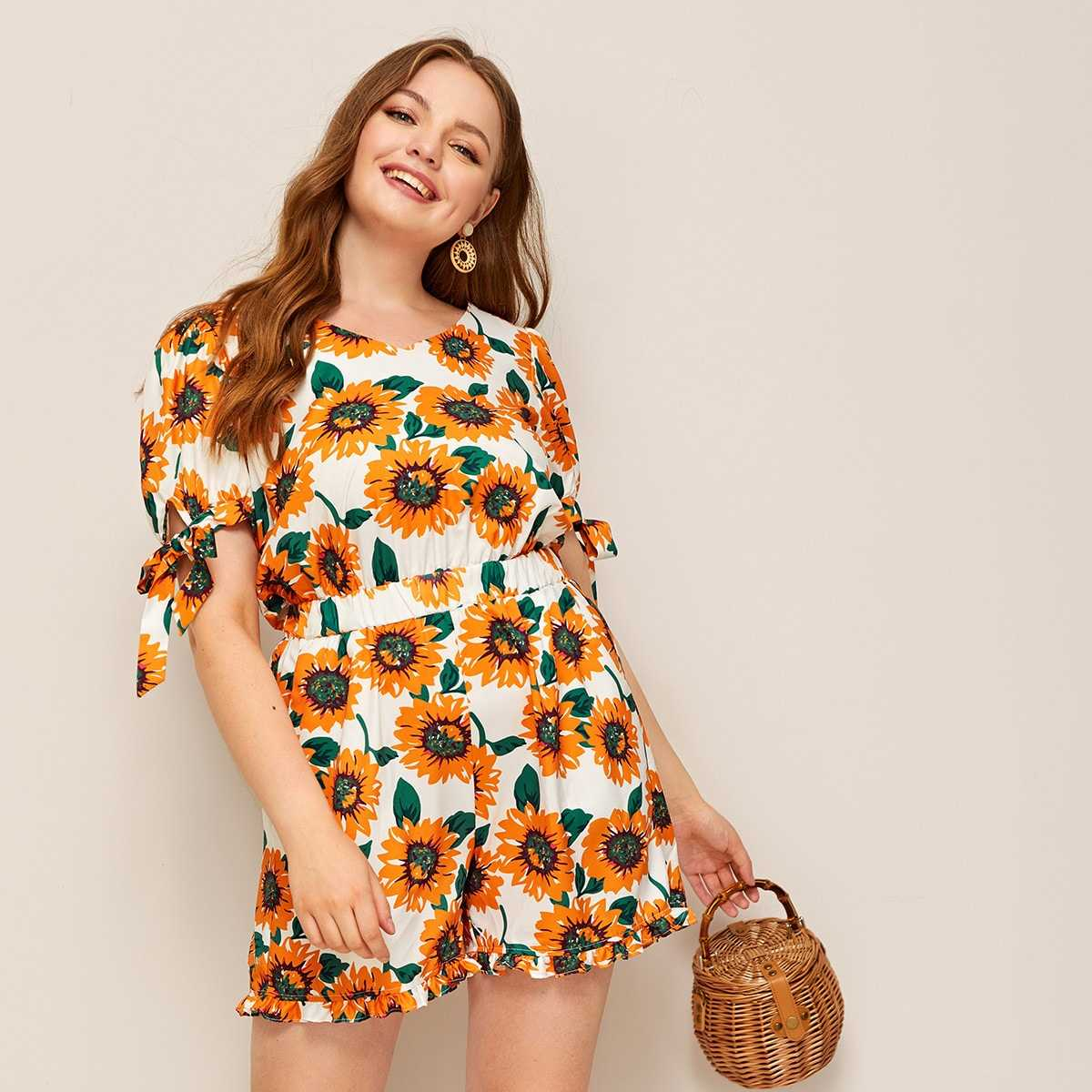 Plus Knot Cuff Zip Back Sunflower Print Playsuit - Shein - GOOFASH