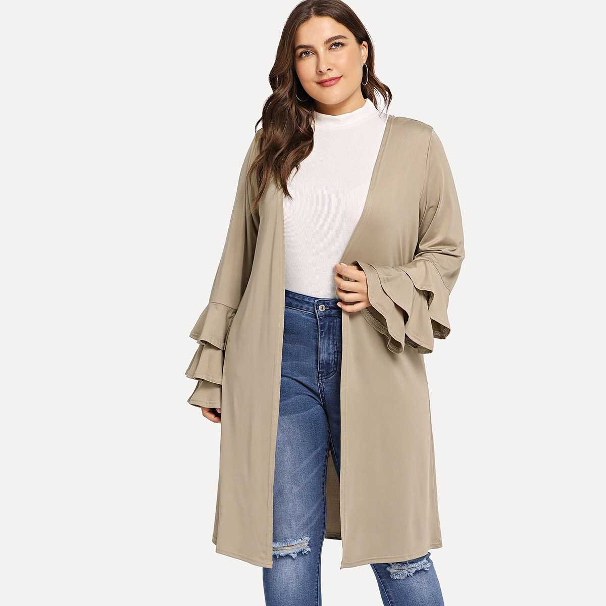 Plus Layered Sleeve Solid Coat - Shein - GOOFASH