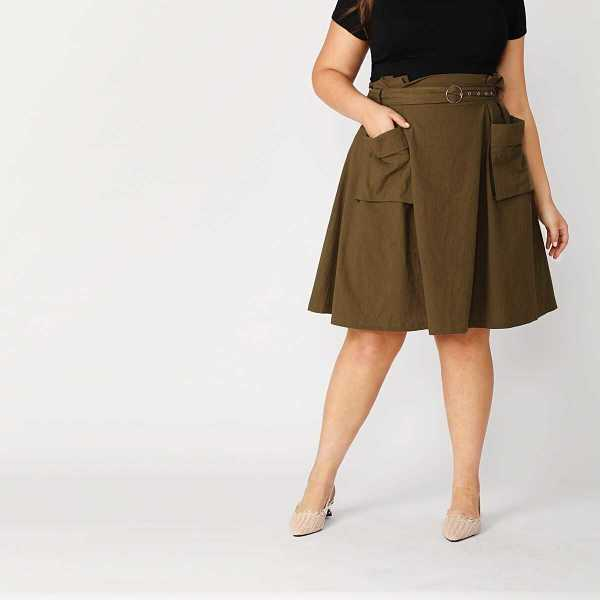 Plus Paperbag Waist Pocket Front O-ring Belted Skirt - Shein - GOOFASH
