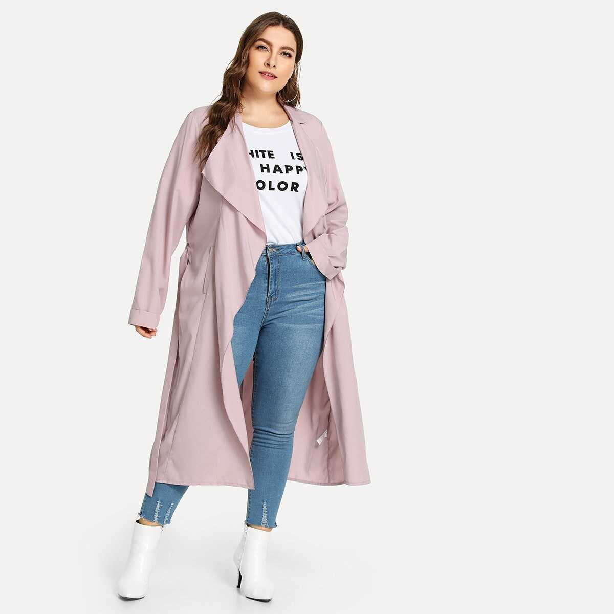Plus Solid Belted Coat - Shein - GOOFASH