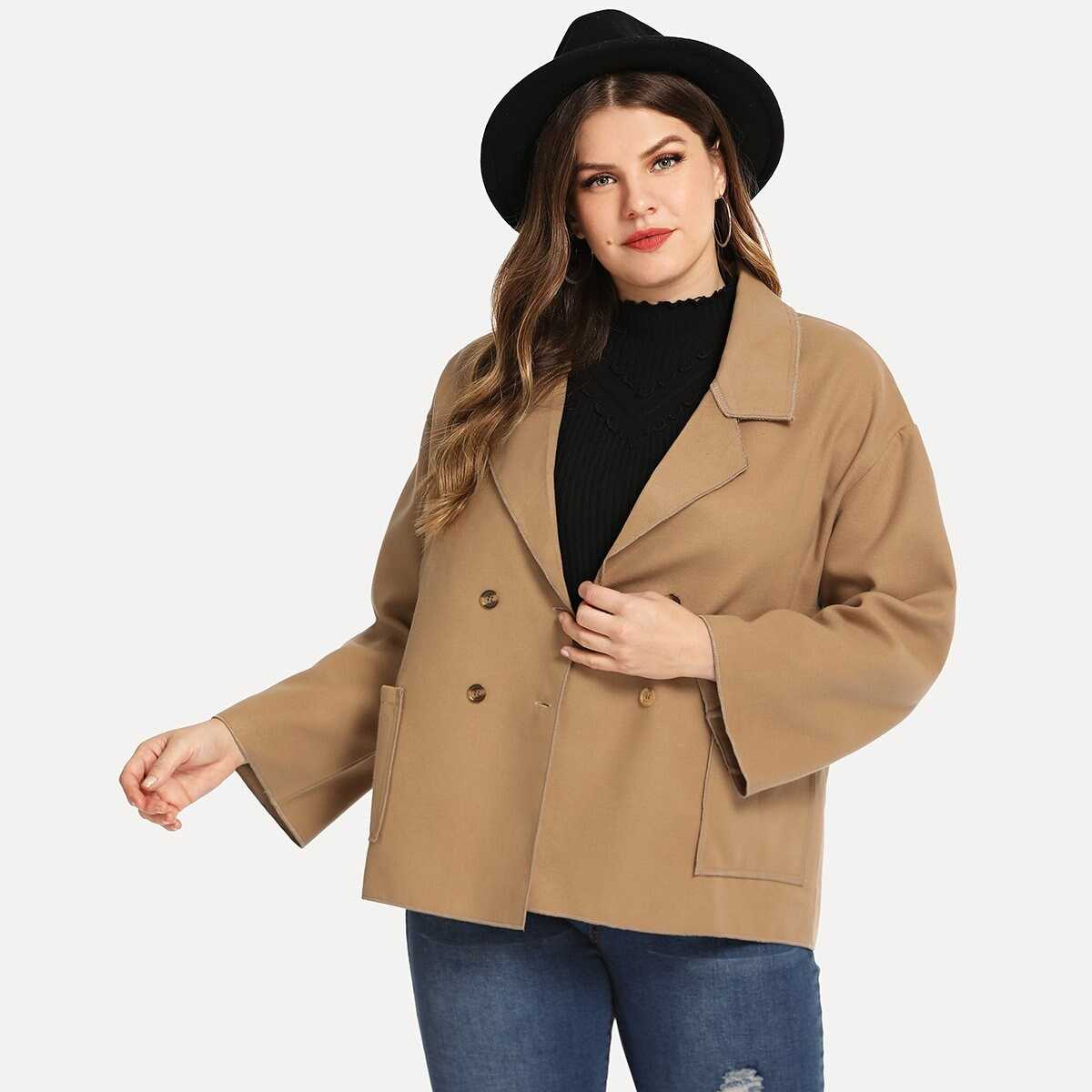 Plus Solid Double-breasted Blazer - Shein - GOOFASH