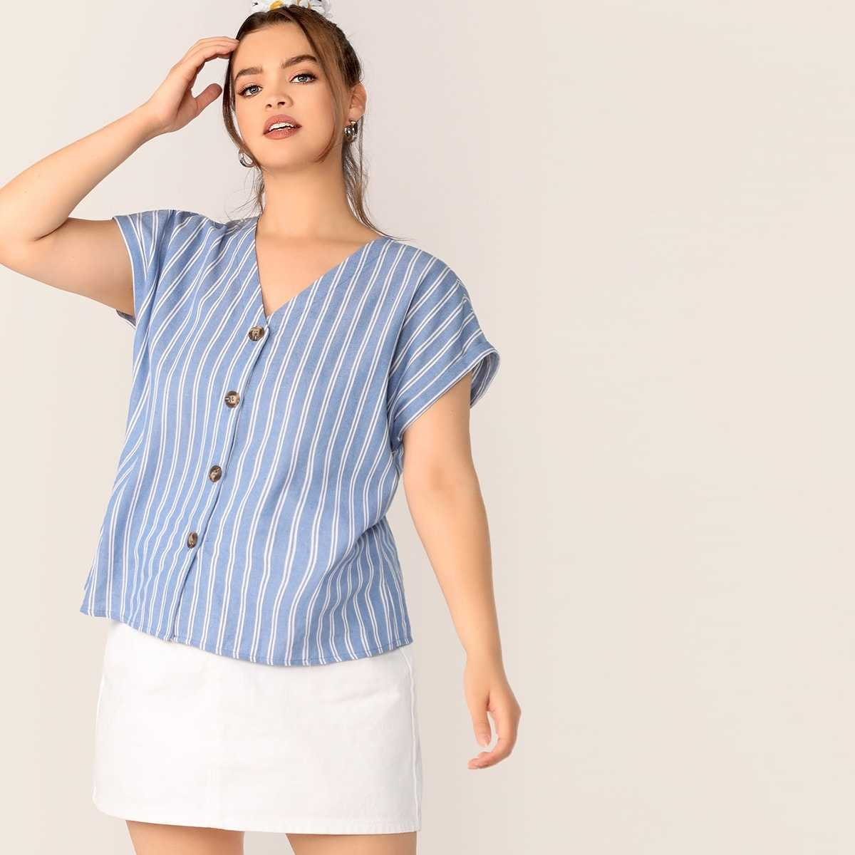 Plus Striped V-neck Button Fly Cuffed Sleeve Top - Shein - GOOFASH