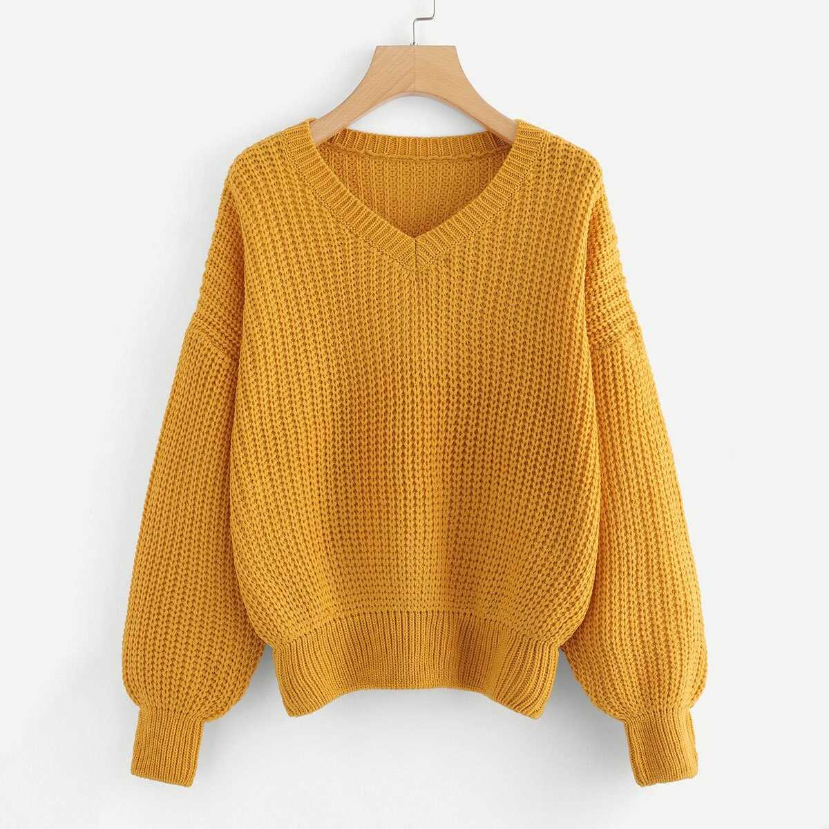 d6d343296089 Plus V Neck Drop Shoulder Sweater Shein | GOOFASH SHOP