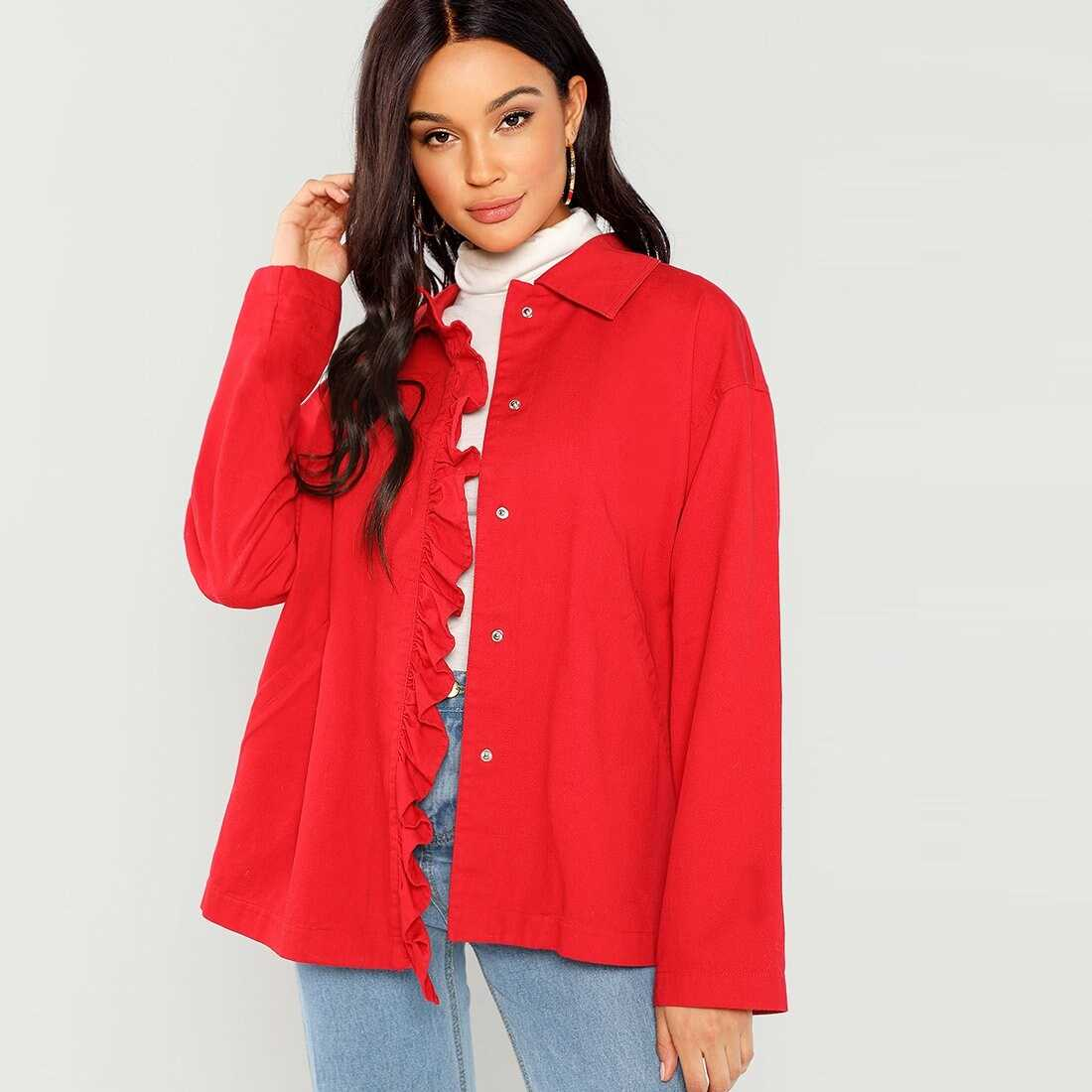 Pocket Patched Front Frill Jacket - Shein - GOOFASH