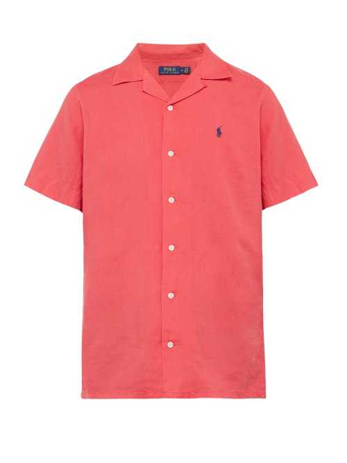Polo Ralph Lauren - Logo Embroidered Linen Blend Shirt - Red Red - Matches Fashion - GOOFASH
