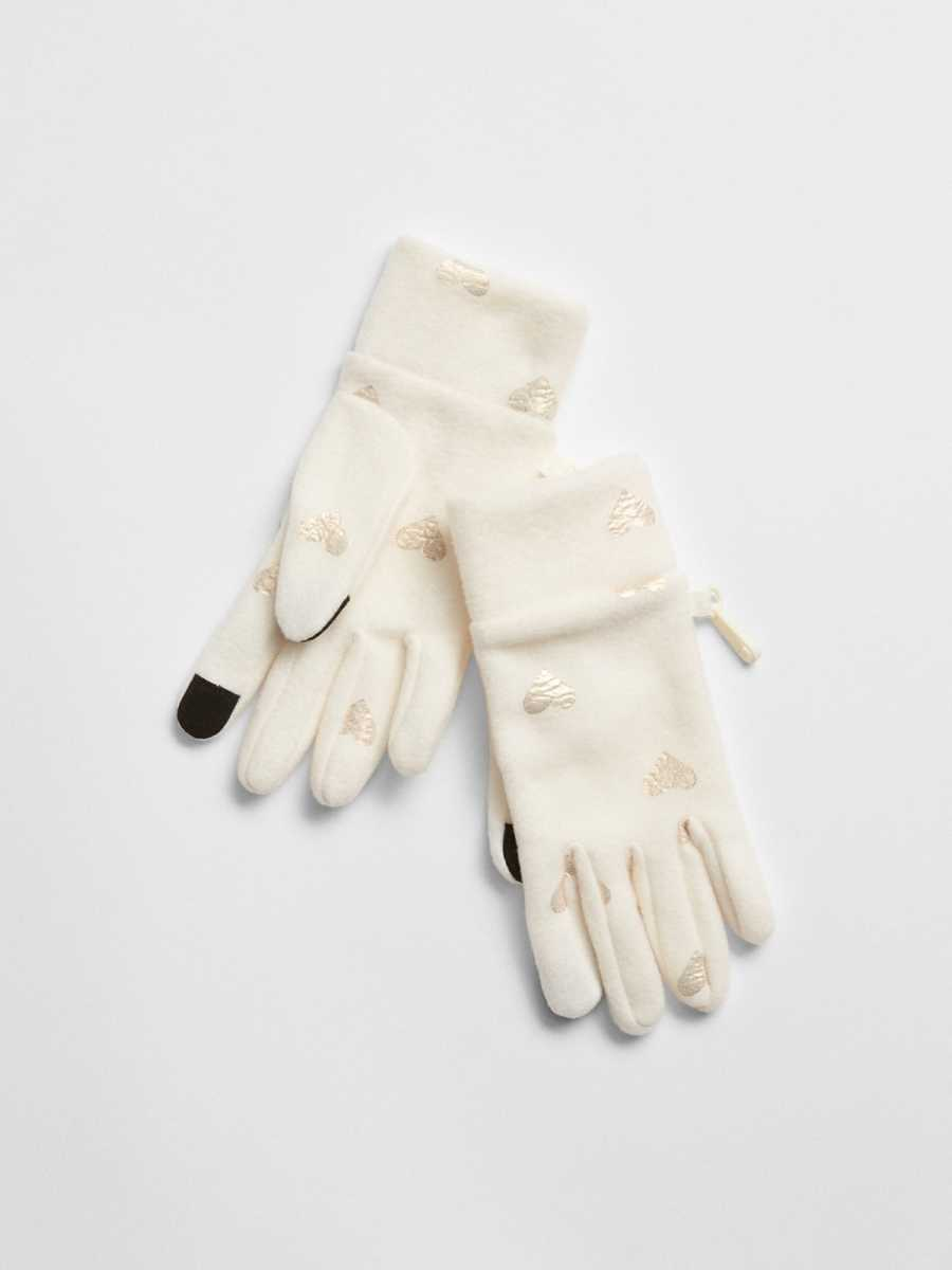 Print Tech Touch Gloves Ivory Frost - Gap - GOOFASH