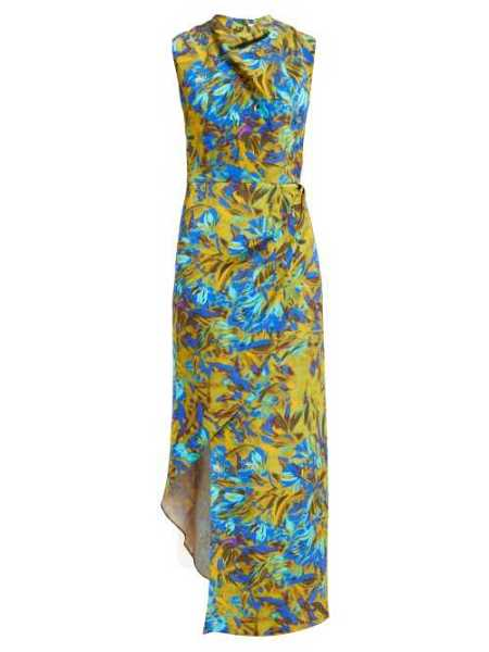 Raey - Cowl Neck Asymmetric Uv Floral Print Silk Dress - Blue Blue - Matches Fashion - GOOFASH