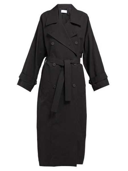 Raey - Papery Cotton Blend Trench Coat - Black Black - Matches Fashion - GOOFASH