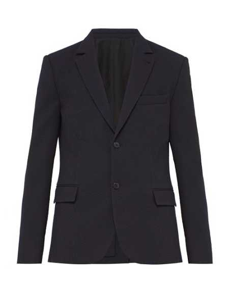 Raey - Single Breasted Seersucker Stretch Wool Blazer - Blue Blue - Matches Fashion - GOOFASH