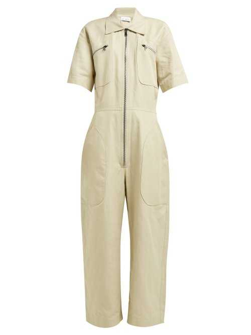 Raey - Zip Front Cotton Blend Jumpsuit - Beige Beige - Matches Fashion - GOOFASH