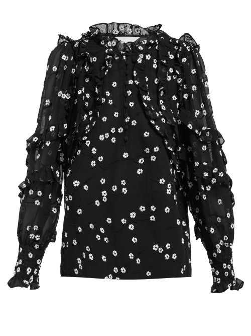 Rebecca Taylor - Alessandra Floral Embroidered Cotton Blend Blouse - Black Black - Matches Fashion - GOOFASH