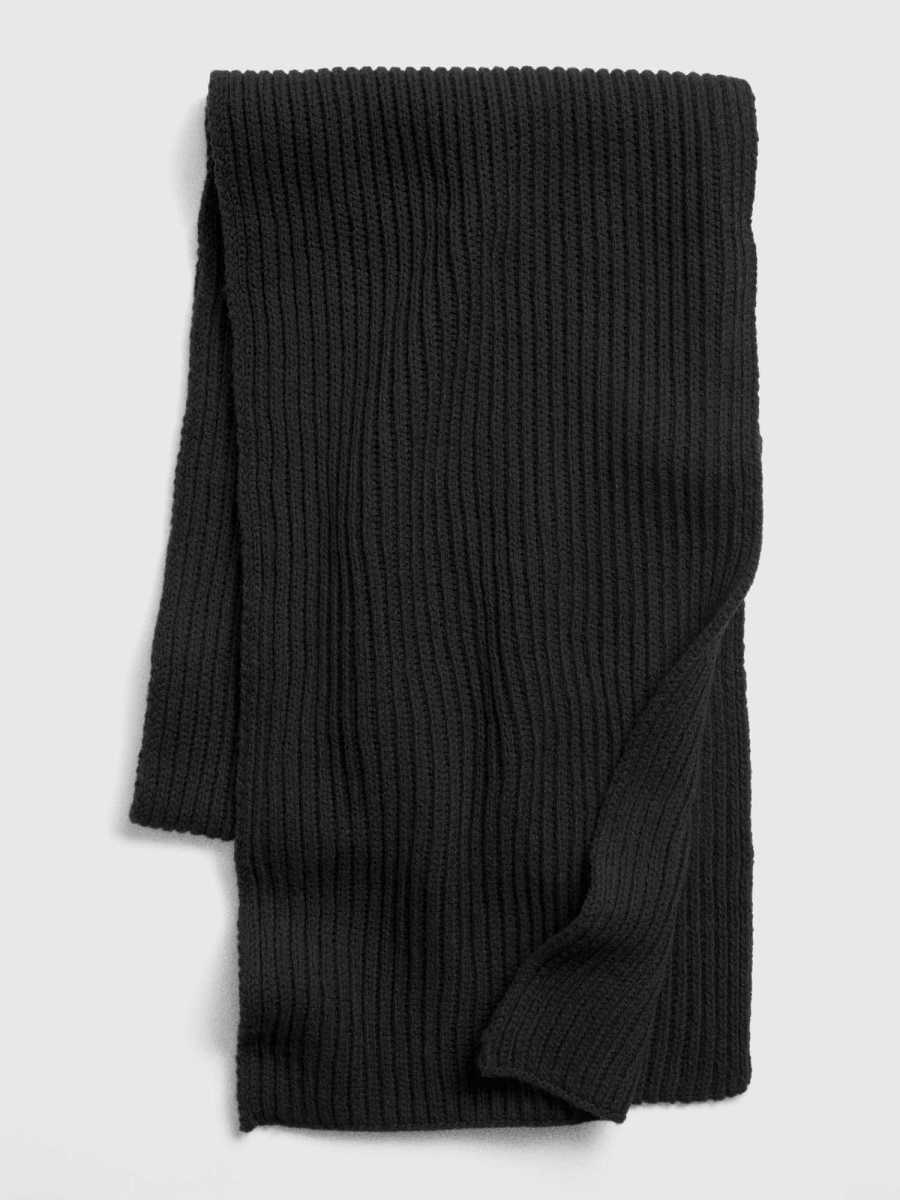 Ribbed Knit Scarf Black - Gap - GOOFASH
