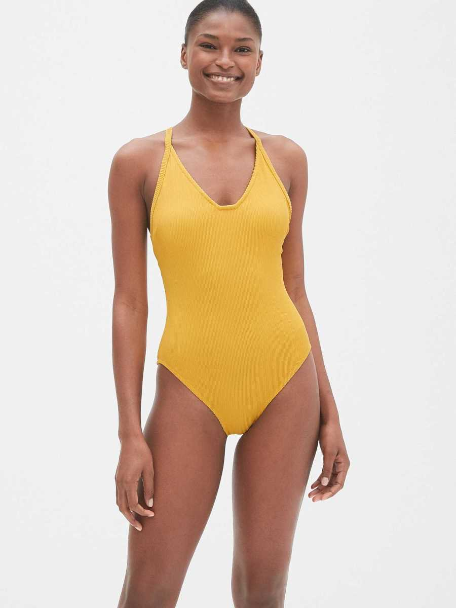 Ribbed Racerback One-Piece Suit Gold - Gap - GOOFASH