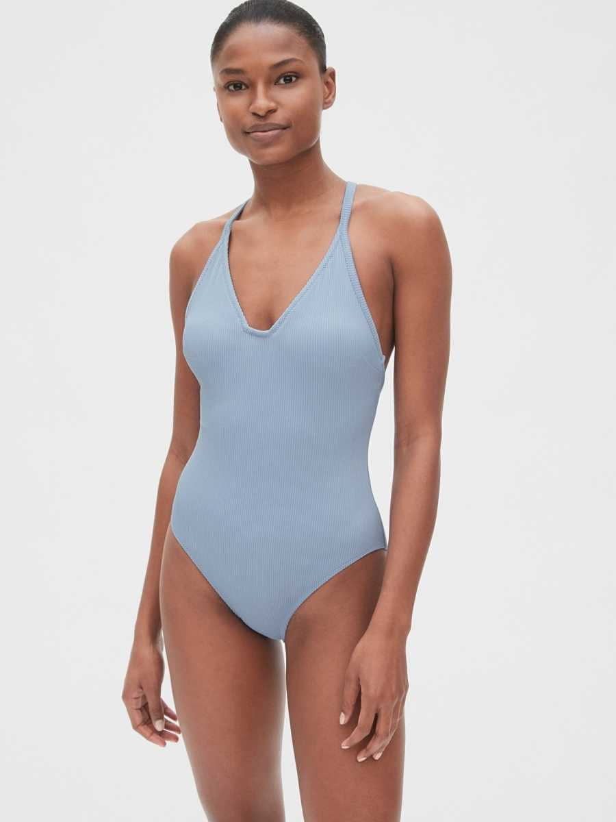 Ribbed Racerback One-Piece Suit Moonstone Blue - Gap - GOOFASH