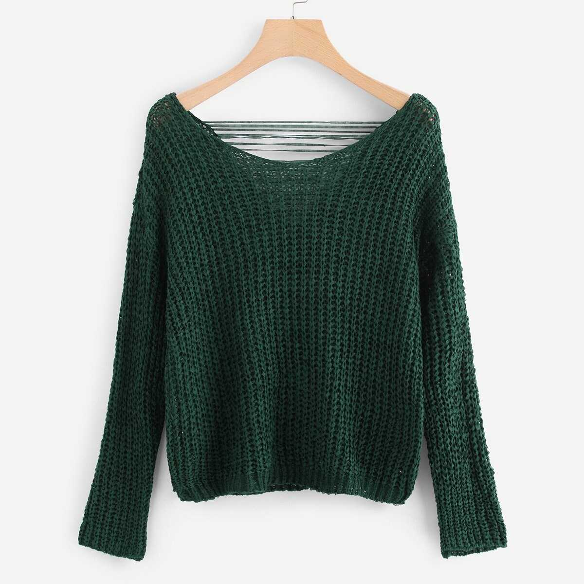 Ripped Solid Jumper - Shein - GOOFASH