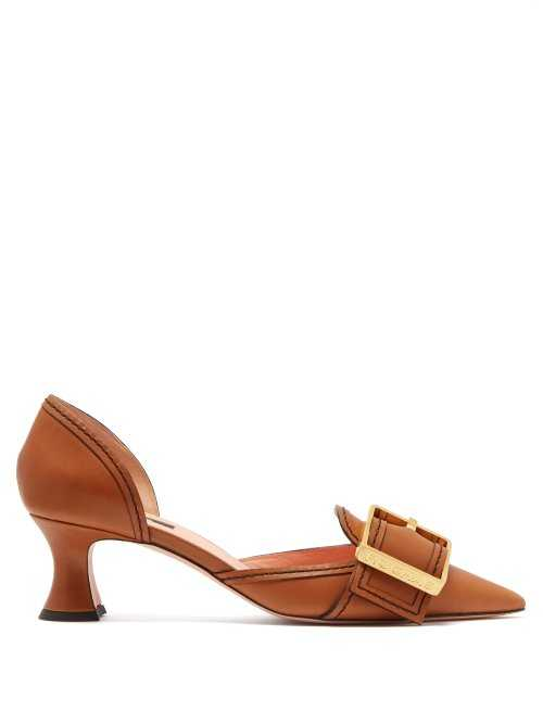 Rochas - Buckled Leather D'orsay Pumps - Beige Beige - Matches Fashion - GOOFASH