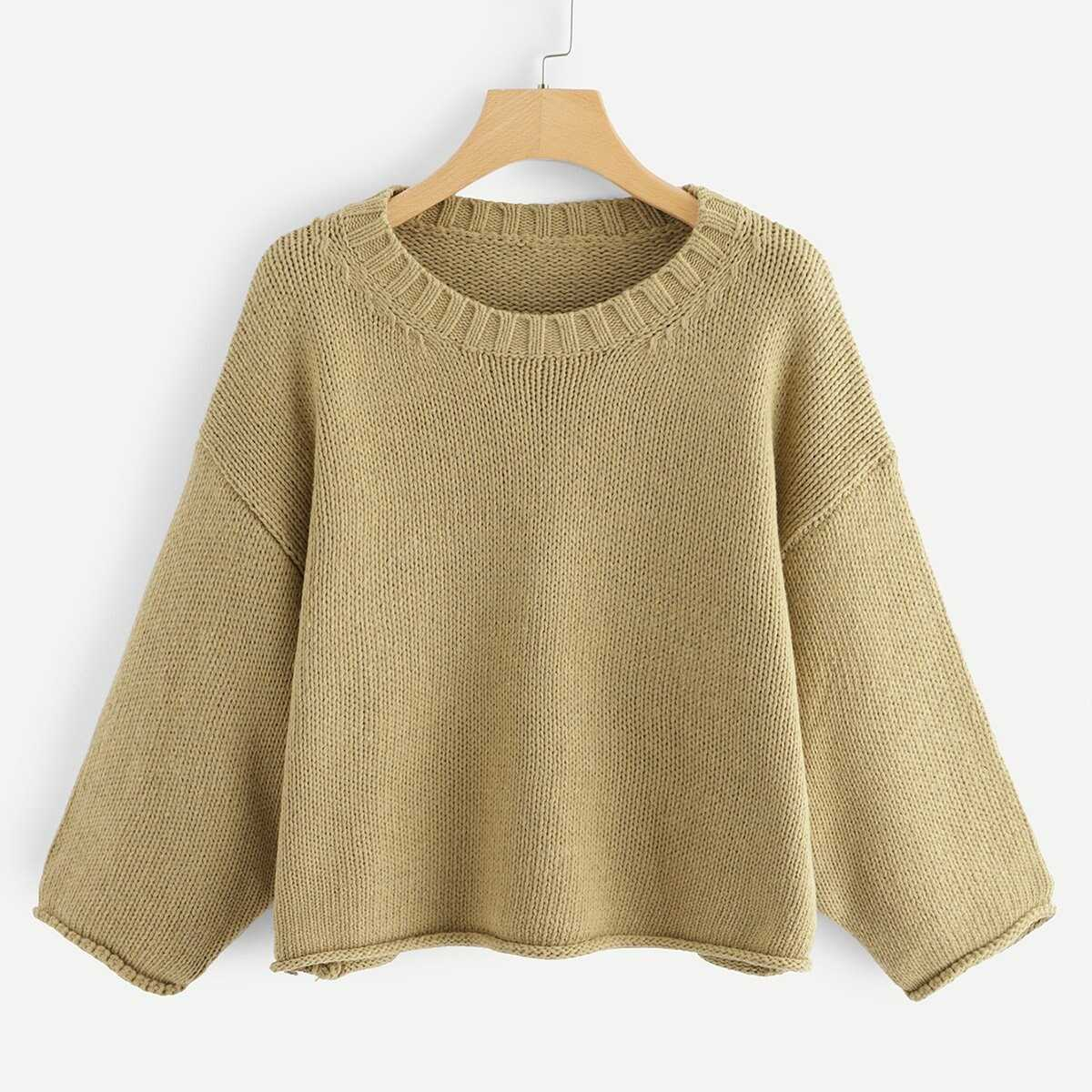 ccc80c84824a Round Neck Drop Shoulder Sweater Shein | GOOFASH SHOP