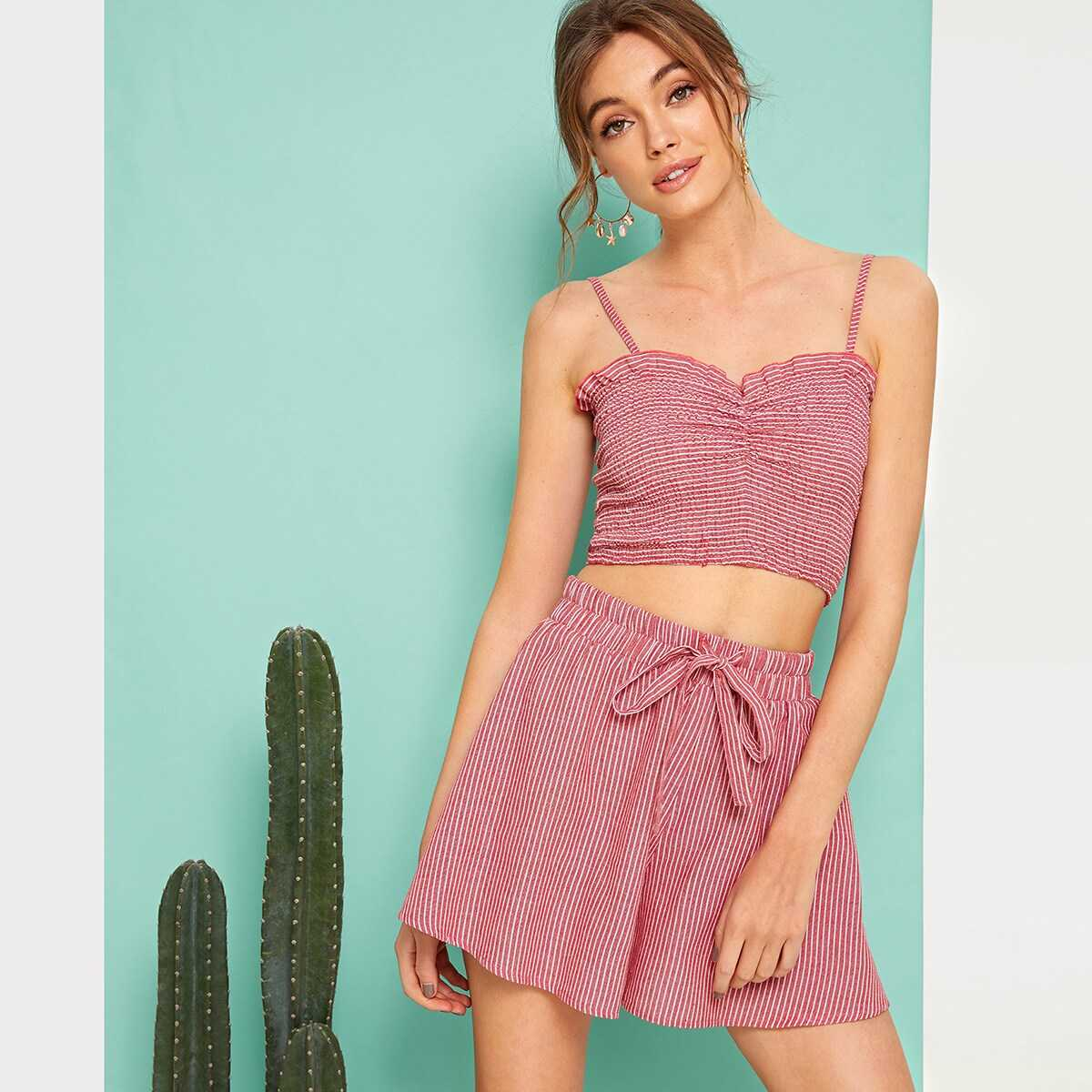 Ruched Front Striped Top and Tie Waist Shorts Set - Shein - GOOFASH
