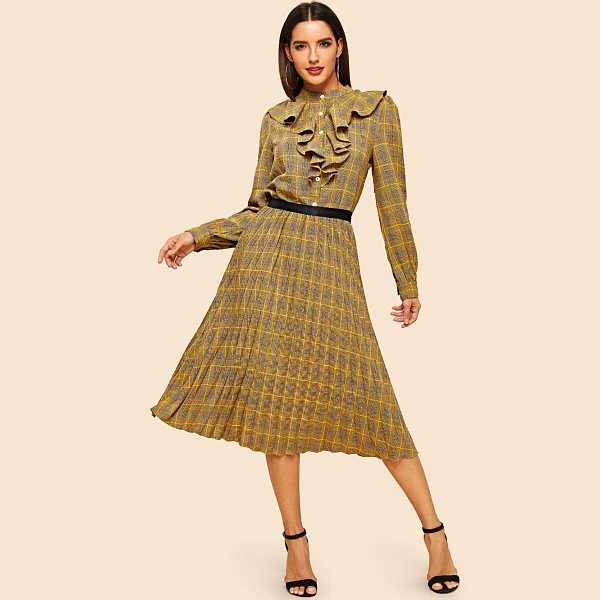 Ruffle Trim Plaid Shirt & Pleated Skirt Set - Shein - GOOFASH