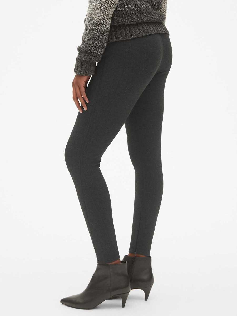 Sculpt High Rise Ankle-Zip Leggings in Ponte Charcoal - Gap - GOOFASH