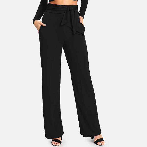 Self Tie Wide Leg Pants - Shein - GOOFASH