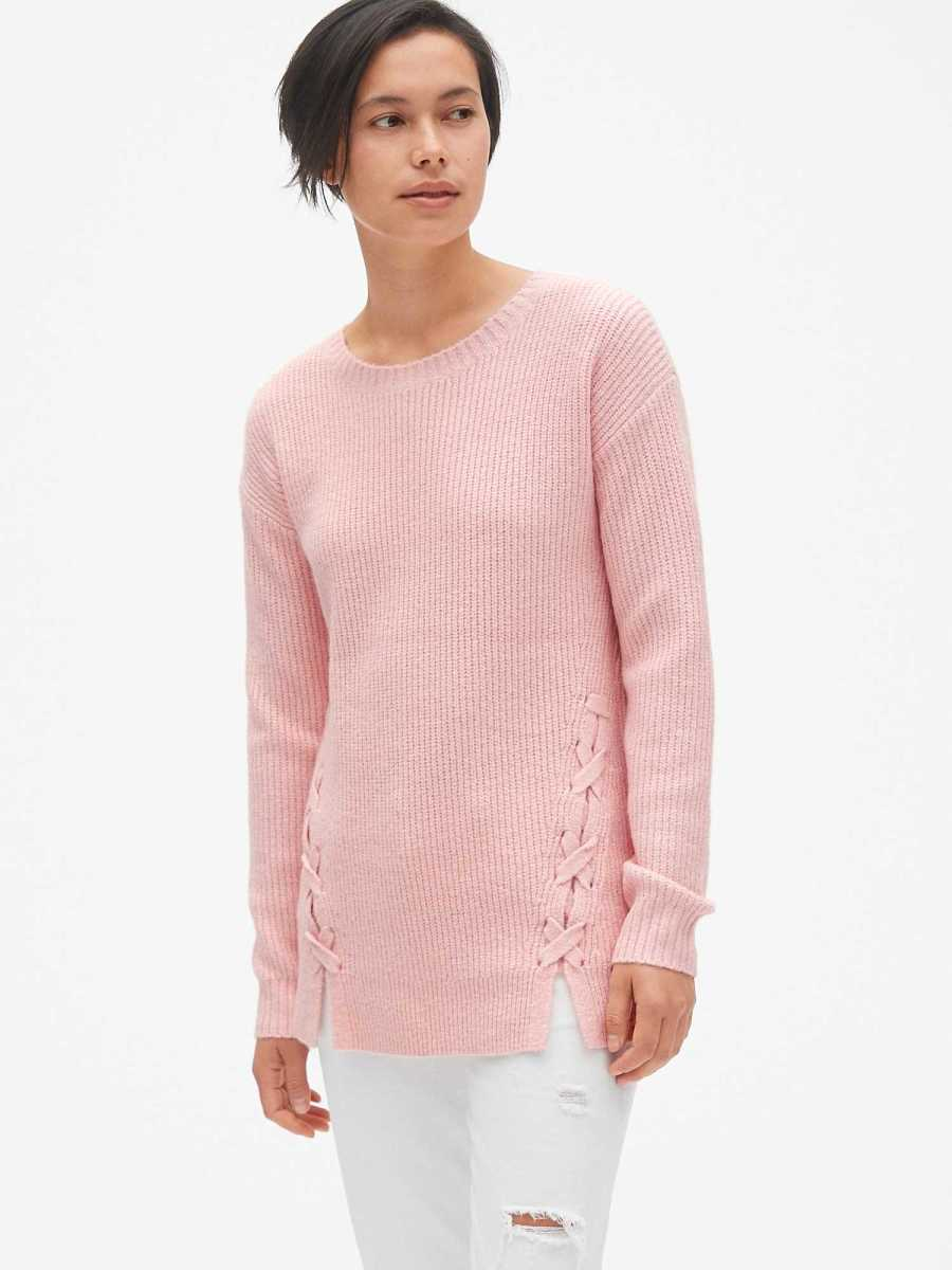 Shaker Stitch Lace-Up Pullover Sweater Tunic Blush 171 - Gap - GOOFASH