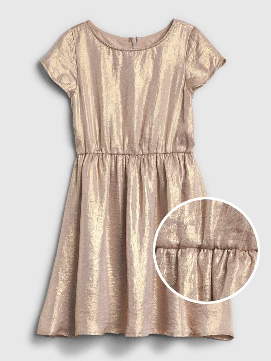 Shimmer Fit and Flare Dress Rose Gold - Gap - GOOFASH