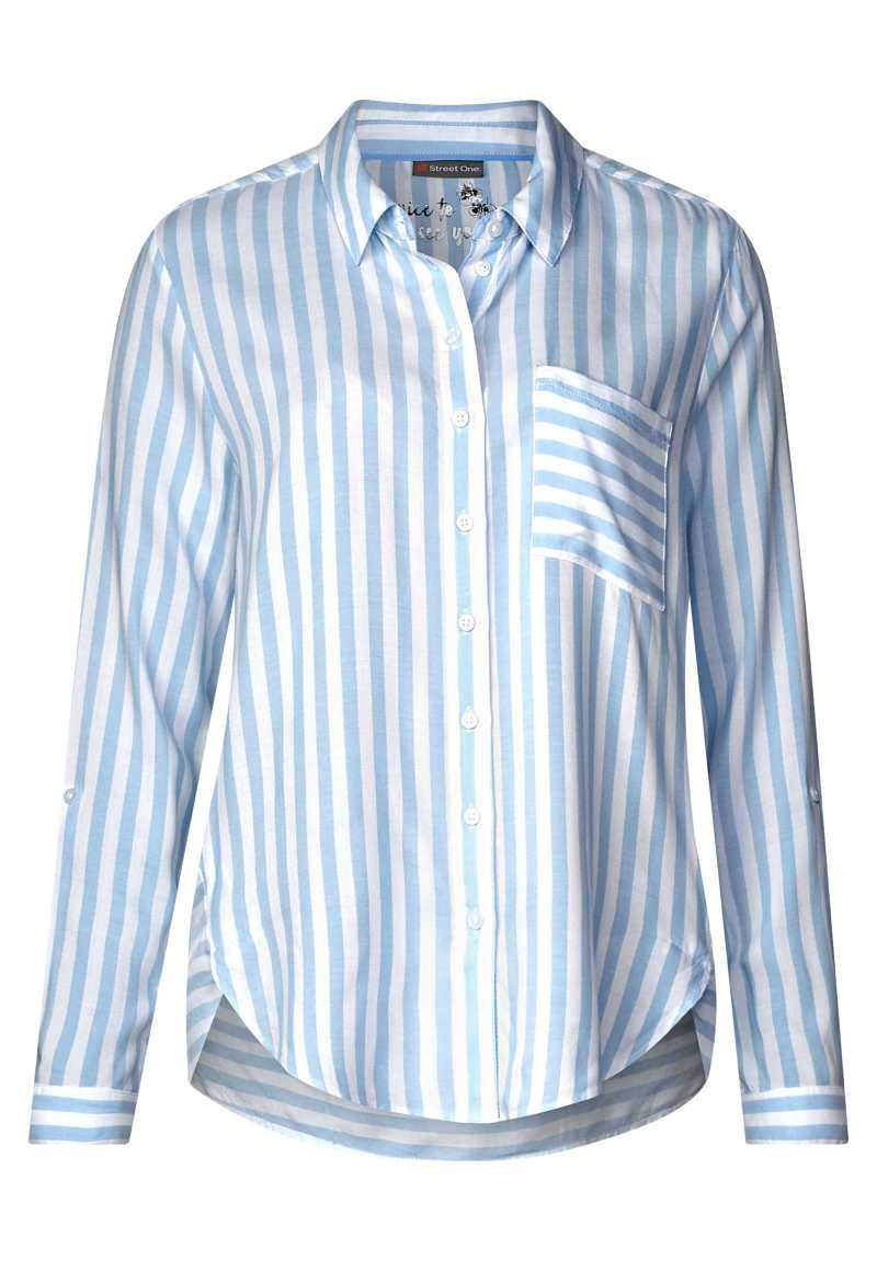 Shirt blouse with stripes - cosmic blue - Street One - GOOFASH