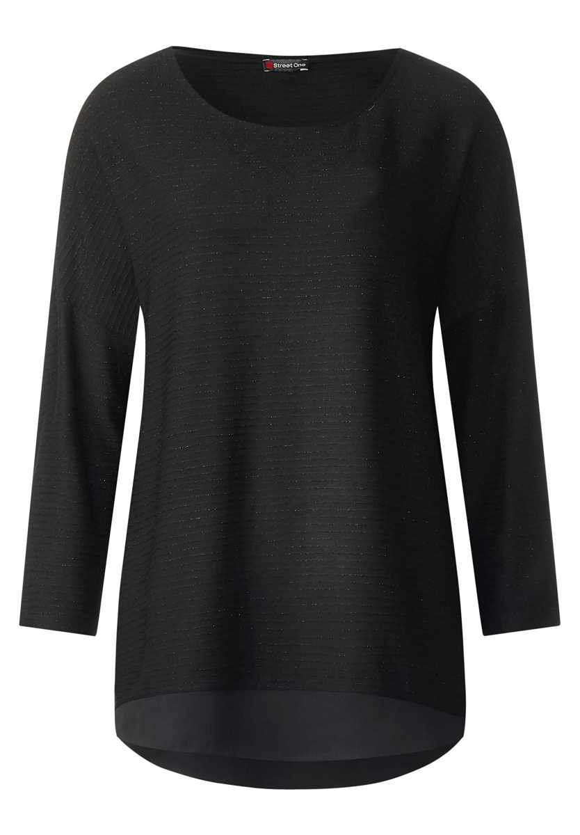 Shirt with glitter structure - Black - Street One - GOOFASH