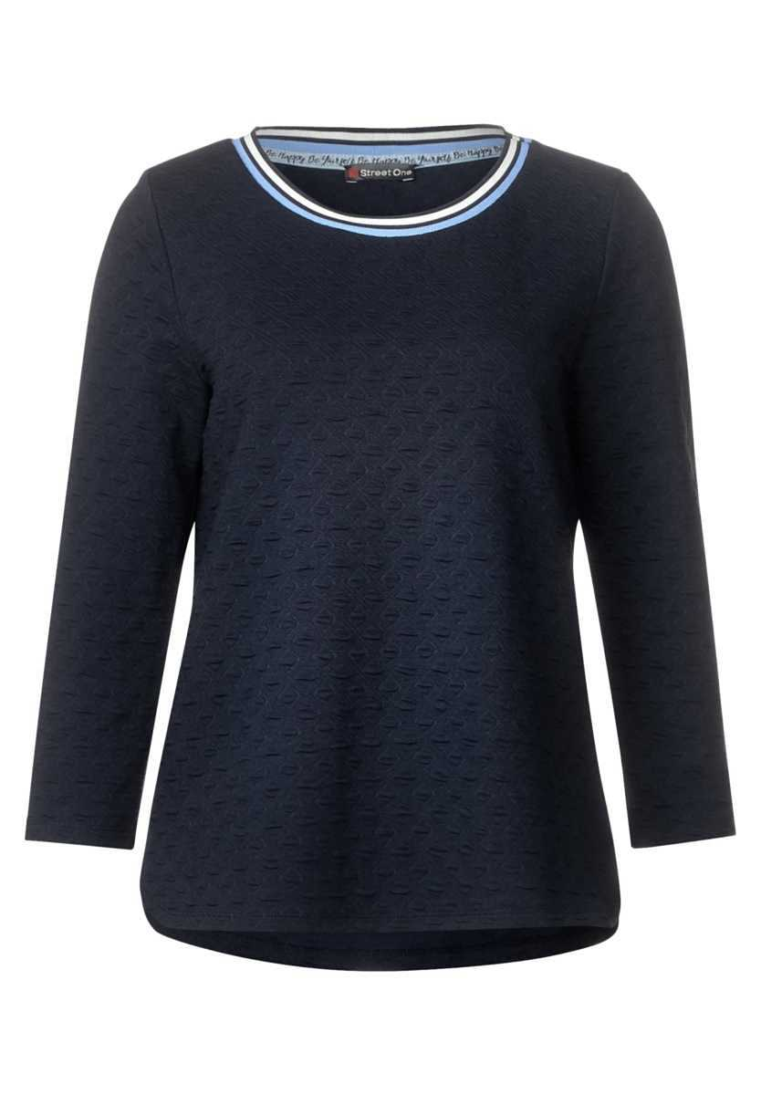 Shirt with structure Philine - deep blue - Street One - GOOFASH