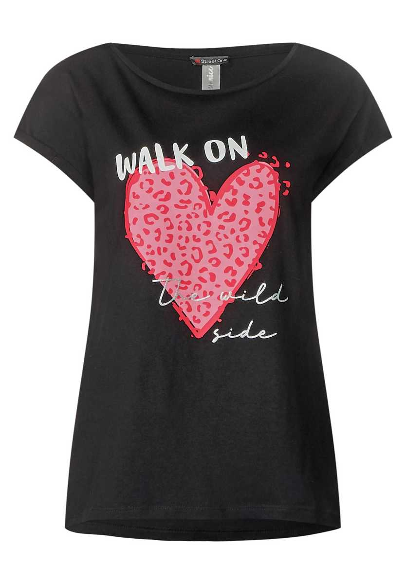 Shirt with wording and print - Black - Street One - GOOFASH
