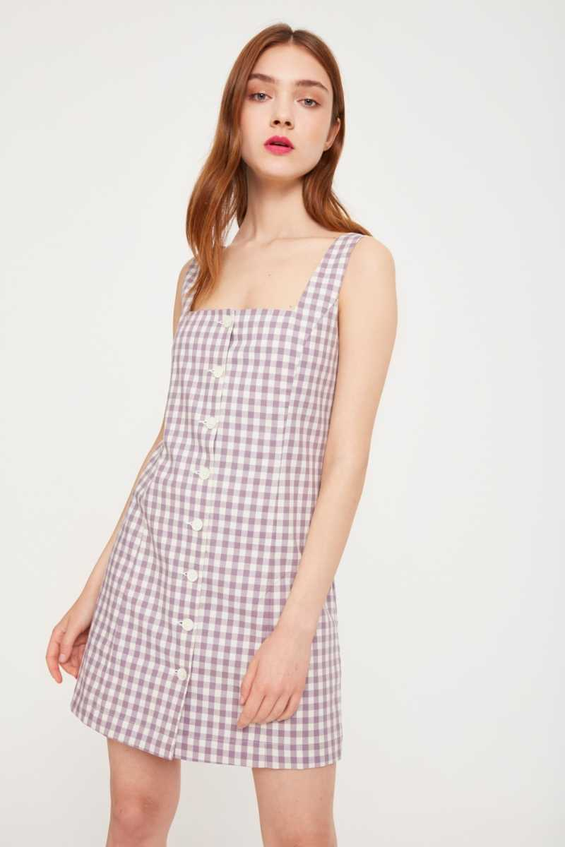 Side Party Gingham Button Up Dress  - Purple - Own The Look - GOOFASH