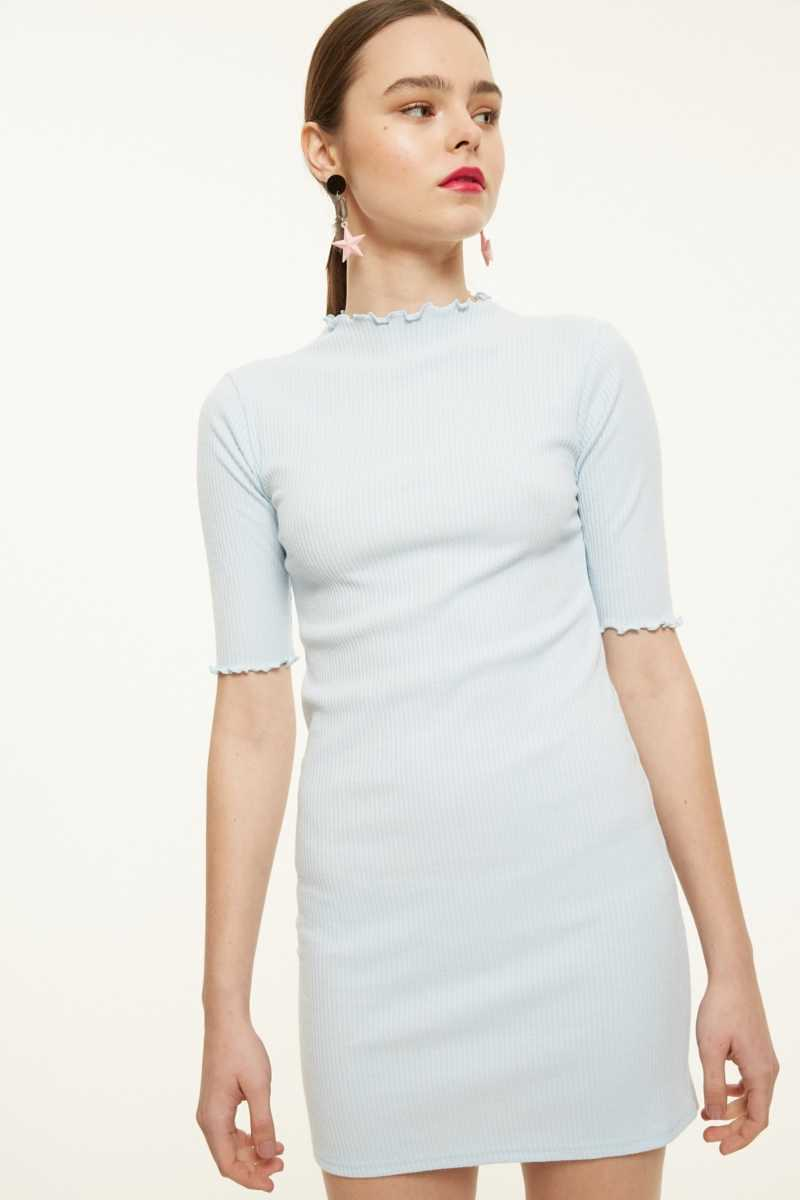 Side Party Ribbed Knit Dress With Curl Detail  - Blue - Own The Look - GOOFASH