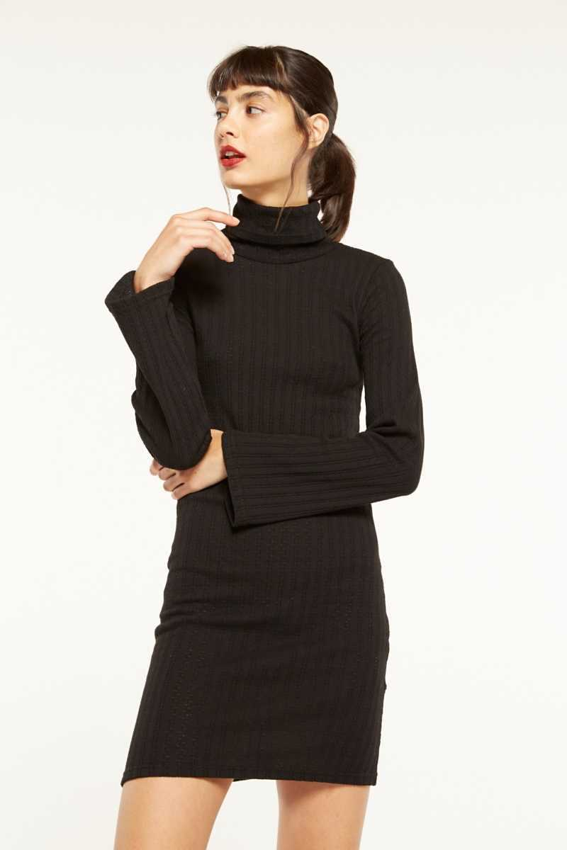 Side Party Ribbed Mini Dress With Bell Sleeves  - Black - Own The Look - GOOFASH