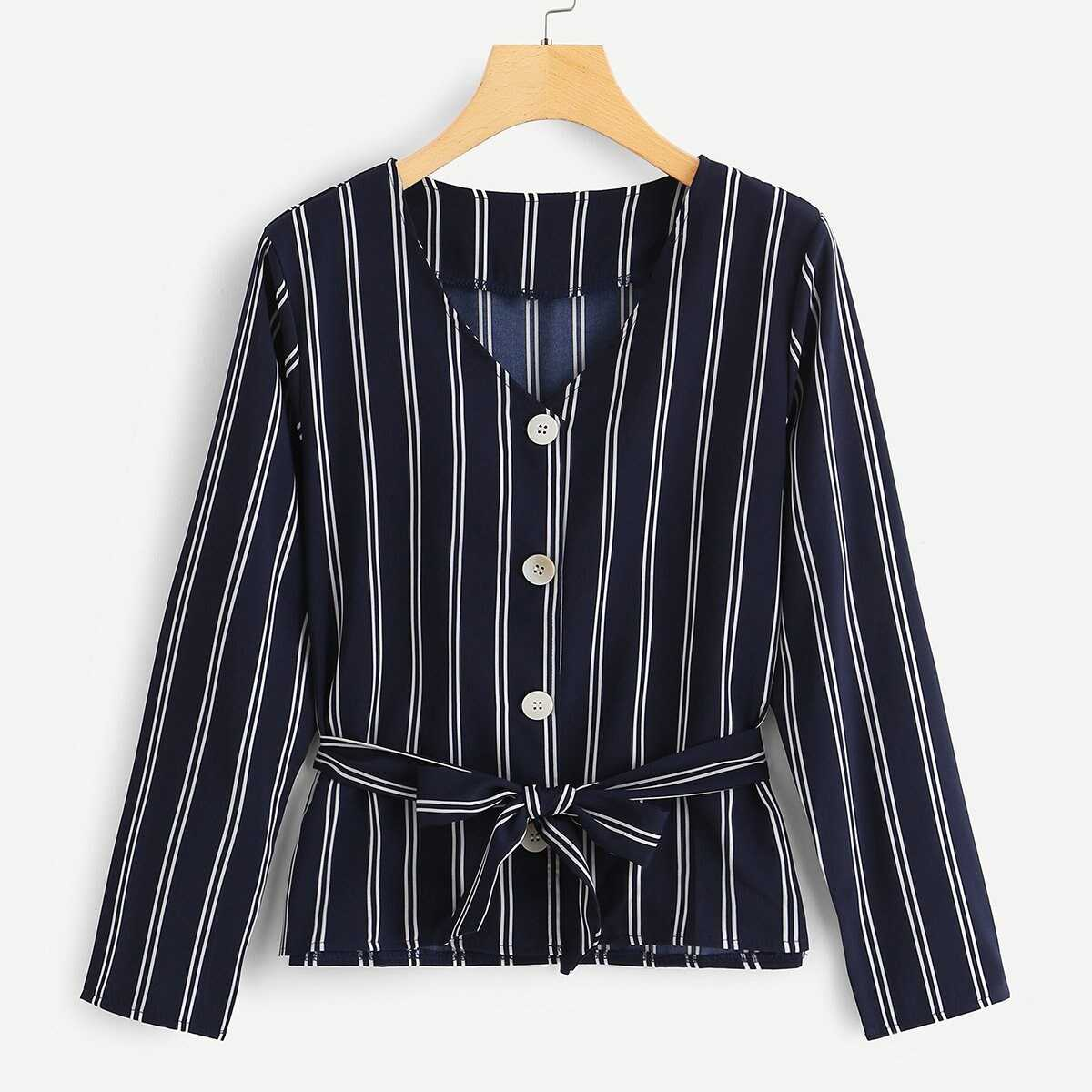 Single Breasted Striped Blouse - Shein - GOOFASH