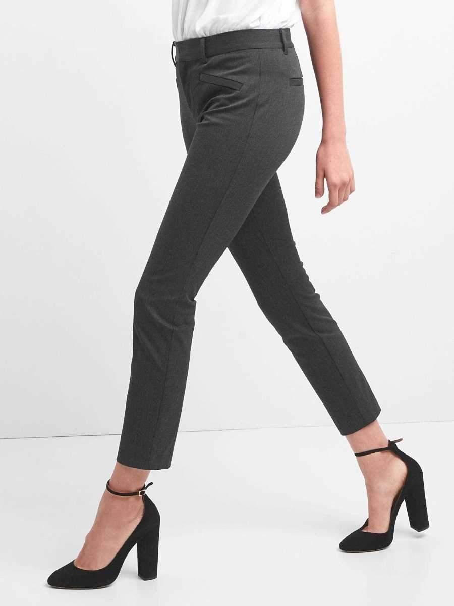 Skinny Ankle Pants in Heathered Twill Charcoal - Gap - GOOFASH