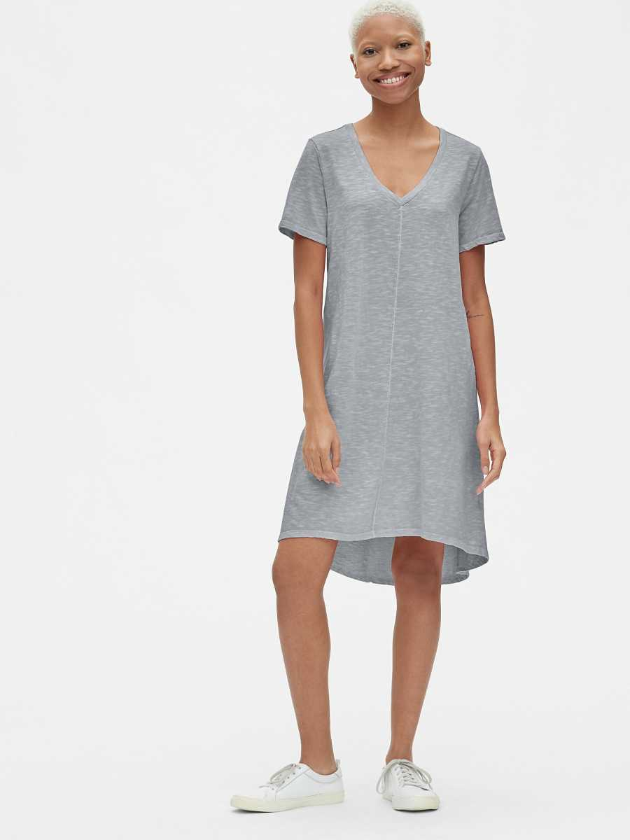 Soft Slub Vintage Wash V-Neck T-Shirt Dress Grey - Gap - GOOFASH