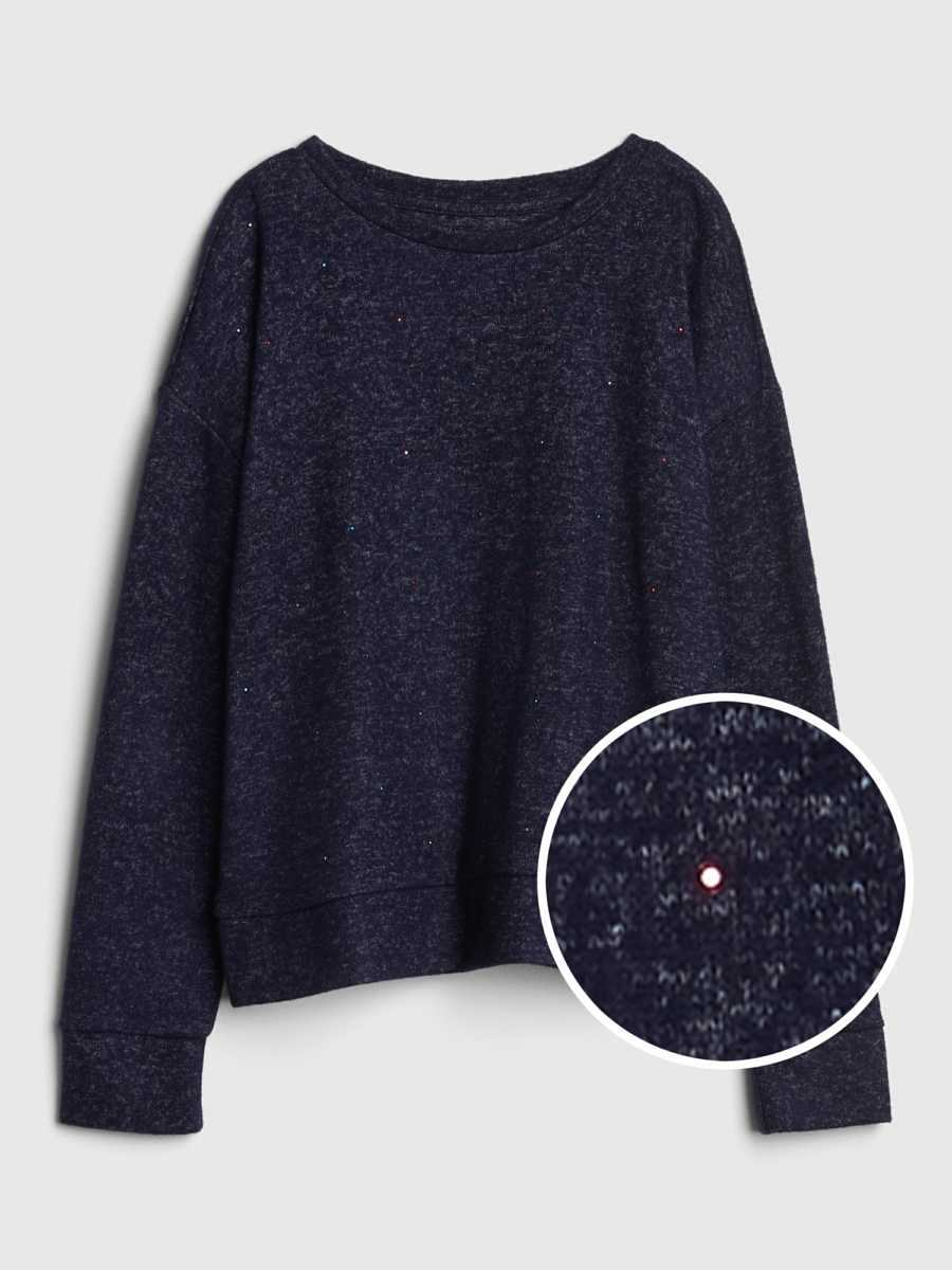 Softspun Studded Pullover Sweater Navy Marl - Gap - GOOFASH