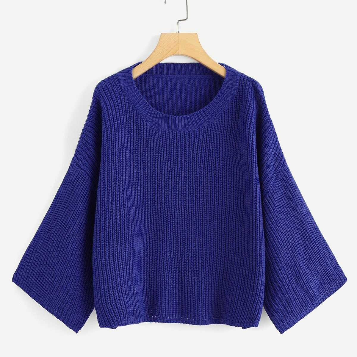 89dc3d2436ad Solid Drop Shoulder Jumper Shein | GOOFASH SHOP
