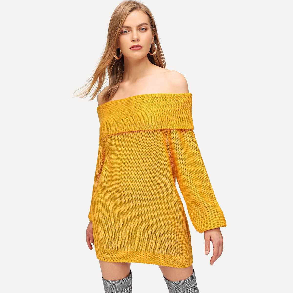 Solid Off The Shoulder Sweater Dress - Shein - GOOFASH