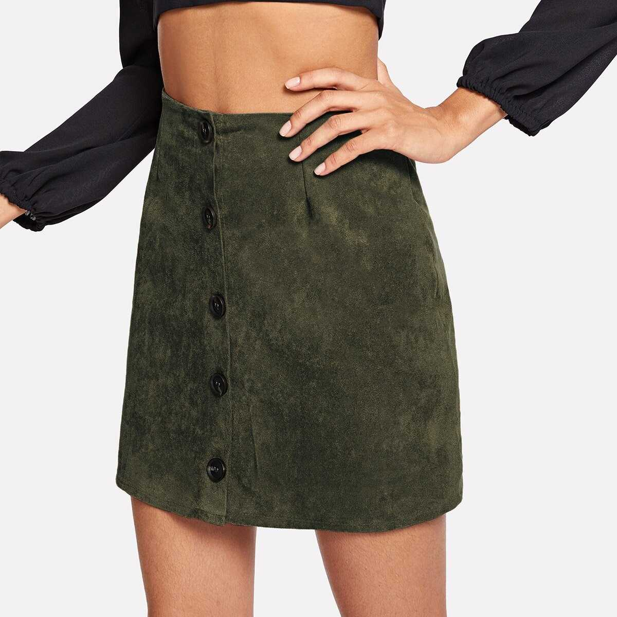 Solid Single Breasted Suede Skirt - Shein - GOOFASH